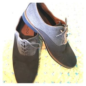 Men's 13 Two-tone Aldo Oxfords grey suede & canvas